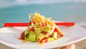 Tuna Tartar! Ahi tuna, spicy mayo, BBQ teriyaki glaze, cucumbers, avocado, wonton, wakame slaw